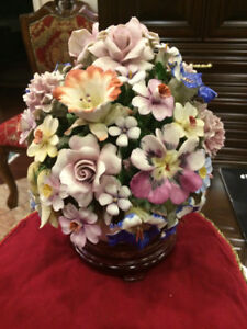 CAPODIMONTE Large Vintage Centerpiece Flower Basket