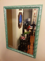 Large Vintage Wood Frame Bevelled Edge Mirror