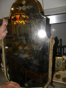 Antique Bevelled-Edged Mirror With Mother of Pearl Frame