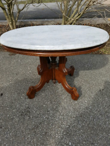 Old Oval Marble Top Victorian Table