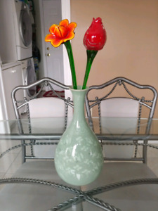 Glass flowers with vase