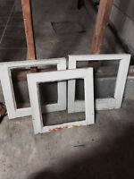 3 small wooden glass window