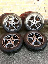 mazda mx5 alloys 4x100 refurbished with new tyres drift nissan honda