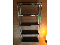 CHROME AND BLACK GLASS BOOKCASE
