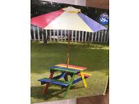 Children's rainbow bench and parasol set