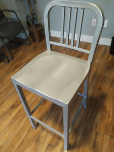 30-Inch Metal Stool with Back in Silver