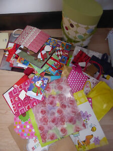 50+ gift bags $ 15, 15 wine bottle gift boxes and bags $ 5