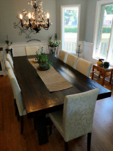 Custom made dining table and 8 chairs