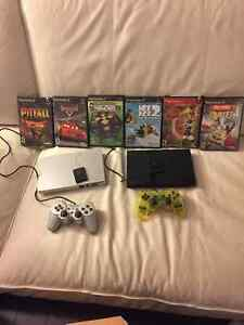 2 ps2's with memory cards, controllers and games.