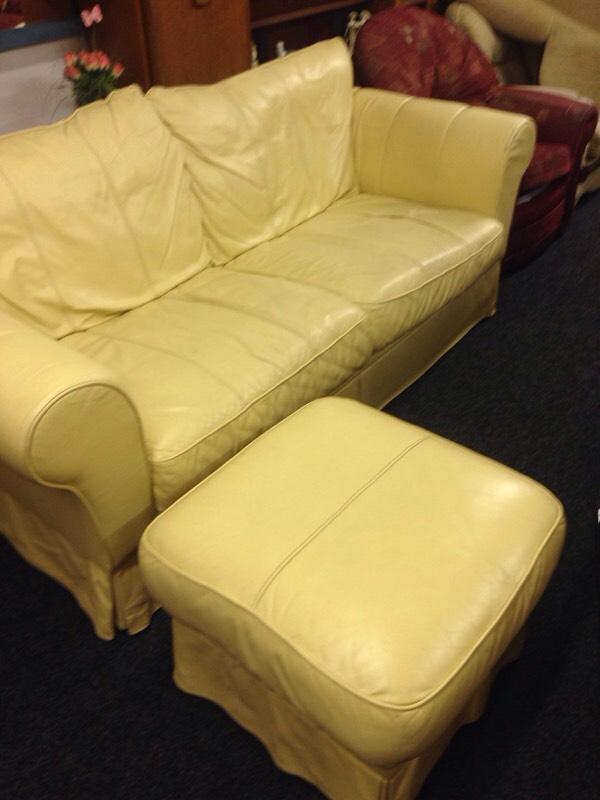 Leather Sofa And Stool In Gosforth Tyne And Wear Gumtree