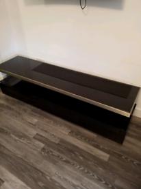 Hi gloss black and silver tv and display unit