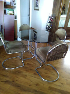 Retro Glass Table with 4 chairs