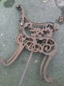 Cast iron seat ends with lions heads