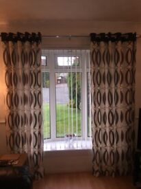 Lined curtains,Cream,Black and Red