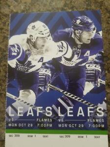 Flames vs Maple Leafs - Mon. Oct. 29th 1ST ROW DEAD CENTER