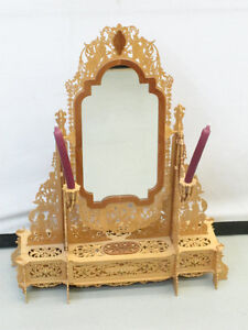 """31.5"""" Wooden Fretwork Mirror With 2 Candles"""