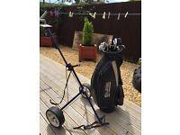 Golf cart bag and clubs