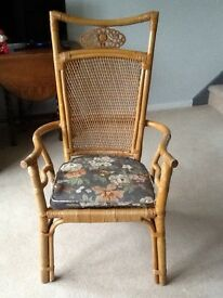 1 cane armchair with seat cushion
