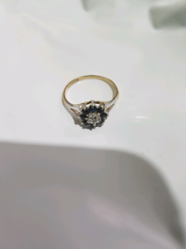9ct Gold Diamond and Sapphire Cluster Ring