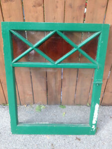 105 years Old Antique Stained Glass Window Frame Display Shabby