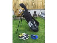 Golf clubs (Fazer) +bag, balls, tees, shoes, cap