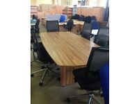 New 2.4 metre boardroom table with 6 used executive mesh swivel chairs.