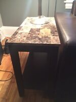Two dark brown end tables