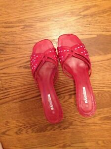 Red and polka dot white sandal