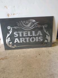 Stella Artois Beer Lager Pub Garden Bar Metal Art Mancave