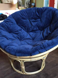 Large Round Bamboo Base with Fabric Cushion Chair