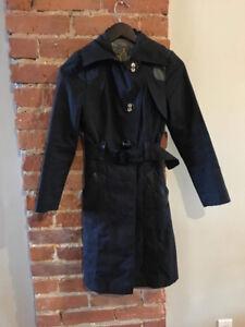 Mackage XXS Dark Navy Trench Coat