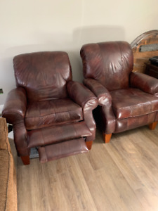 LazyBoy Distressed Leather Recliner