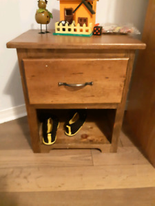 Wooden Captions bed, dresser and end table