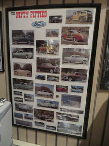 1950's Ford Framed Poster--Rare--Nifty Fifties Fords