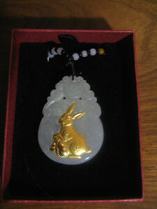 Authentic Jade Necklace Embossed with Pure Gold Rabbit