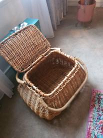 Habitat large wicker basket storage box , unusual quirky