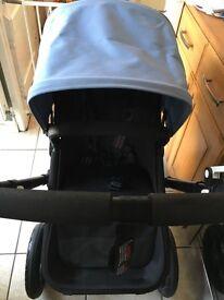 Bugaboo Cameleon 3, ice blue hood, all black frame