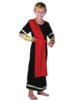 Boys Roman Emperor King Black Toga Caesar Greek Childs Kids Fancy Dress Costume