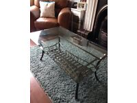 Glass coffee table, console table and lamp table