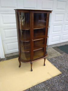 Antique Curved Glass Cabinet