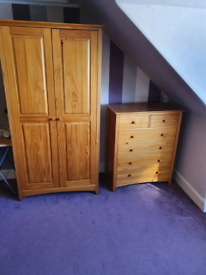 Pinewood Wardrobe and chest of drawers