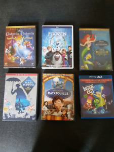 Disney Movies Blu ray and DVDs. Frozen, Cinderella 2&3