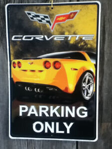 Corvette Parking Only Sign C6 GM Trademarks 18X12