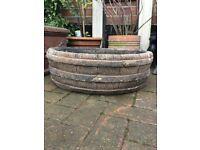 Lovely vintage large garden planter, barrel design