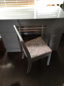 Refinished desk/vanity with matching chair and mirror.