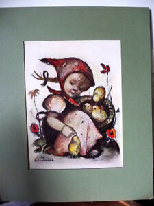 "Franciscan Nun, Berta Hummel Lithograph ""Child with Baby Chicks"""