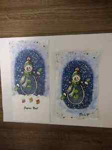 Magnifiques cartes de Noël fait à la main avec peinture.  Saint-Hyacinthe Québec image 3