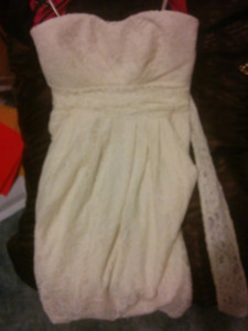 Ivory strapless dress with pockets