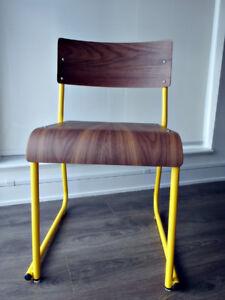 StyleGarage GUS Church Chair - Canary Yellow Base with Walnut