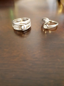 Wedding band, engagement ring and promise ring